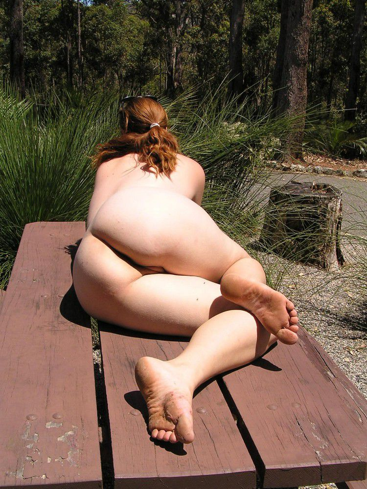 Chubby mature amateur outdoors