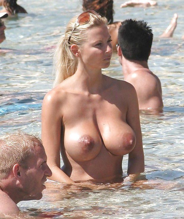 Milf beach boobs