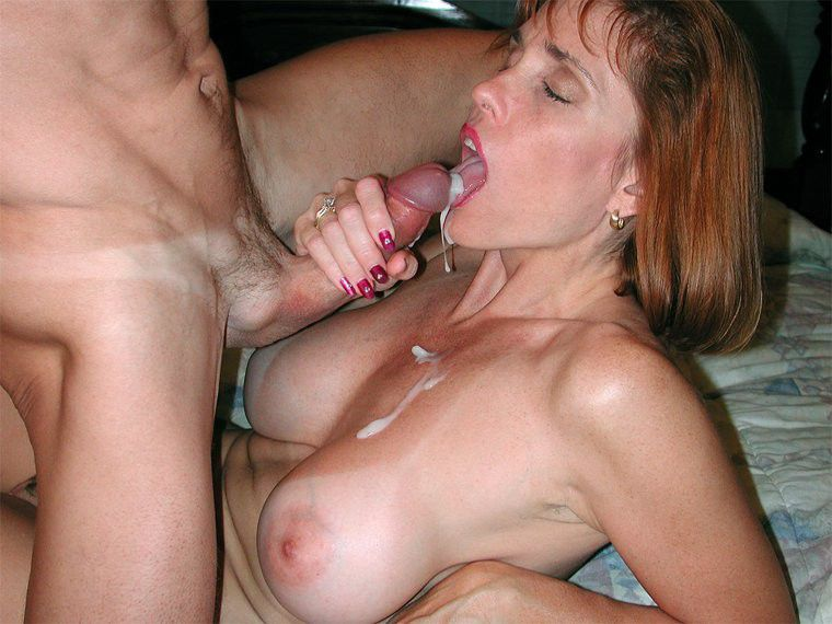 Busty facial mom does