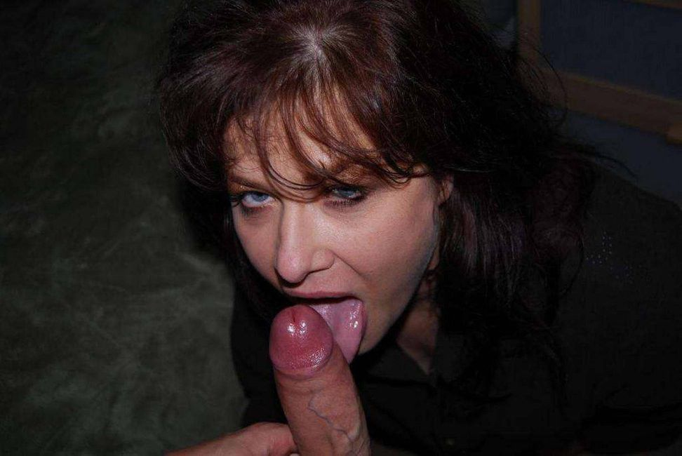 Mature licking cock