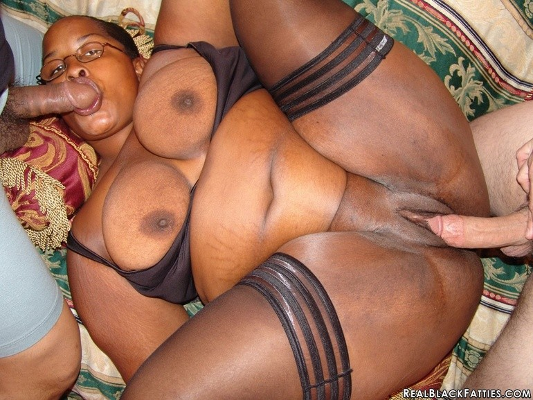 Bbw Ebony Takes Two Cocks