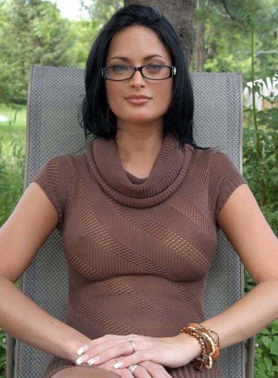 College Brunette Babe Glasses